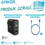 Beli Bundling Anker Anker Powerport 2 Quickcharge With Kabel Data Micro 3Ft Blue Di Dki Jakarta