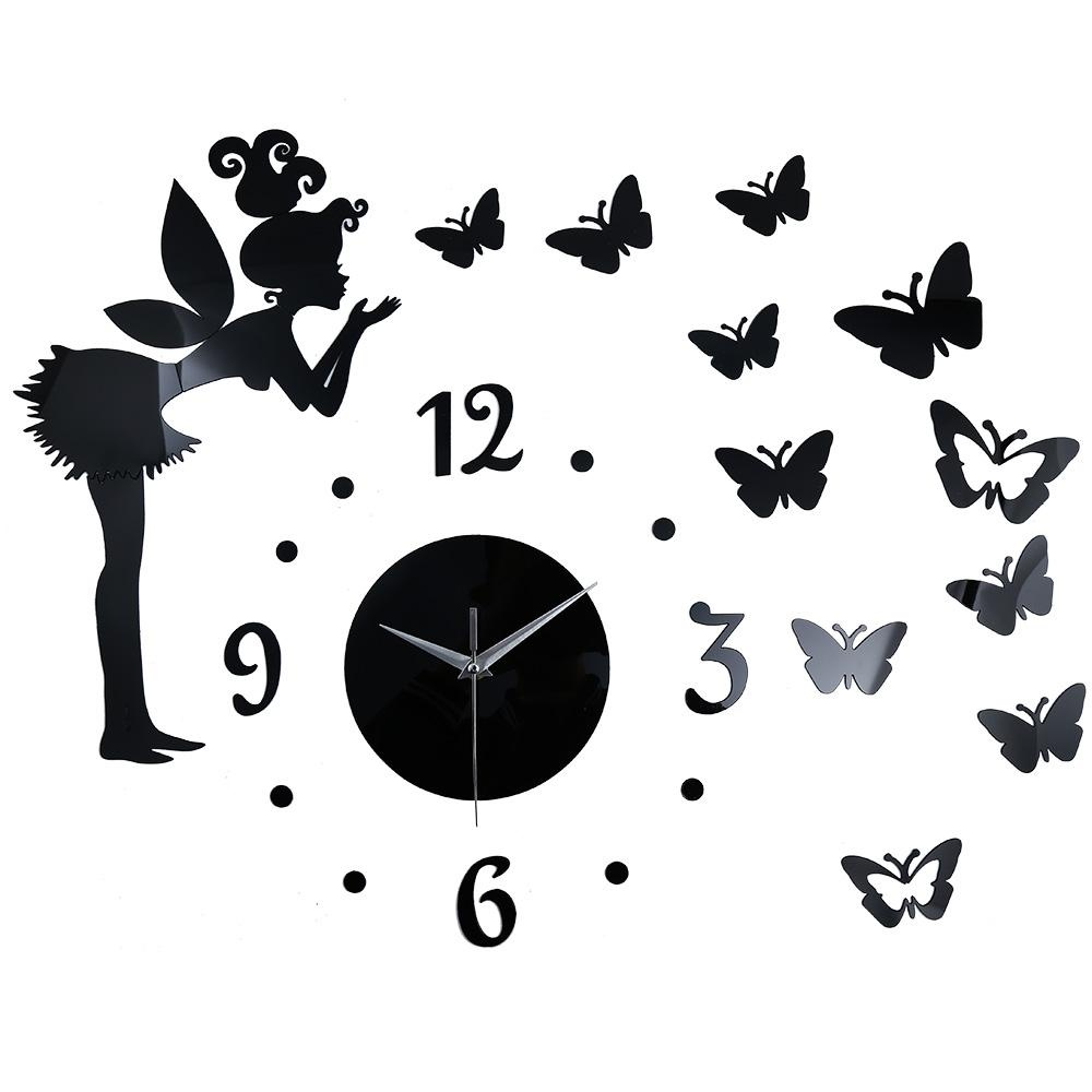 Spesifikasi Butterfly Elf Mirror Effect Sticker Diy Wall Clock Home Decoration Intl Bagus