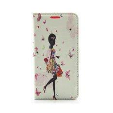 Butterfly Seri Bunga Berlian Imitasi PU Kulit Dompet Case untuk Samsung Galaxy A5 2017 (Belanja)-Intl