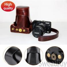 Toko Pu Leather Camera Case Tas With Tali Leher For Canon Eos M3 Kopi Online Tiongkok