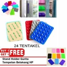 Buy 1 Get 1 Tempelan Belakang HP Stand Holder Gurita Universal 24 Tentakel Perekat Handphone