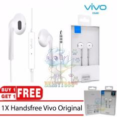 BUY 1 GET 1  Vivo XE680 Handsfree For Vivo V5 V5s V5 plus Y53 All Smartphone Jack 3.5m Original 100% In-ear New Headset - White / Putih