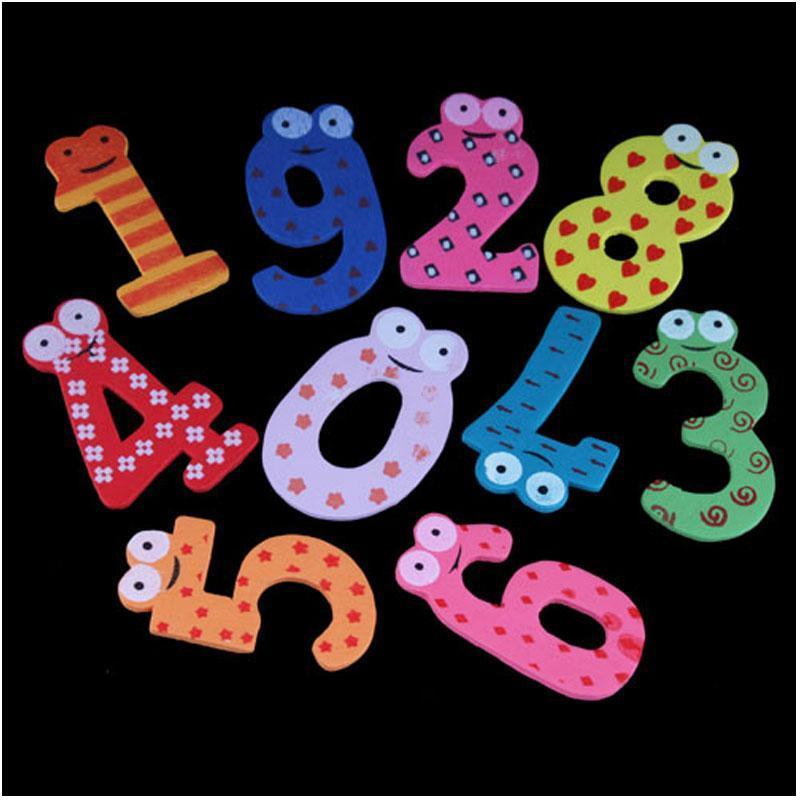 BUYINCIONS Cute Set dari 10 Nomor Magnet Kulkas Kayu Mainan Kecil