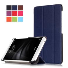 BYT KST Pola Warna Solid Tablet Leather Flip Cover Case dengan Stand Fungsi untuk Huawei MediaPad M2 Lite PLE-703L 7 Inci (Biru)