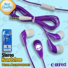 C-HF02 Headsfree STEREO Sound Only Excellent Sound Quality With Mic warna Ungu