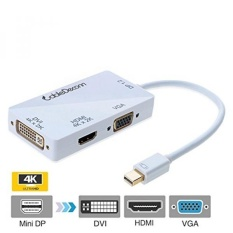 CableDeconn 3-In-1 Mini DisplayPort 1.2 V untuk DVI VGA HDMI TV HDTV Adapter Converter HDMI Full 4 K X 2 K Resolusi-Intl