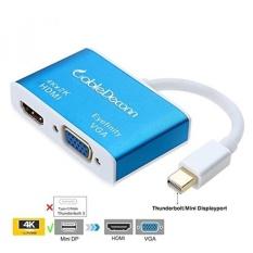 CableDeconn Aluminium Multi Fungsi Thunderbolt Mini DisplayPort 1.2 untuk HDMI 4 K & VGA Converter Adaptor Kabel untuk Apple Macbook Pro Air, IMac Permukaan Pro2 3 4 Mini DP Ke HDTV Eyefinity VGA Adapter-Intl