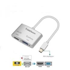 CableDeconn Aluminium Shell Multi Fungsi Thunderbolt Mini DisplayPort Ke HDMI VGA Converter Adaptor Kabel untuk Apple MacBook Permukaan Pro ThinkPad X1 HDMI 4 K HDTV Eyefinity VGA Adapter-Intl