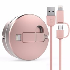 Top 10 Cafele 2In1 Retractable Usb Cable For Iphone 5 And Above 8 Pin Port Android Micro Usb Port Charging And Data Transfer Intl Online