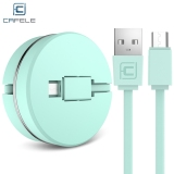 Review Cafele Circular Cover Retractable Micro Usb Fast Charging Data Cable 1 M Intl Terbaru