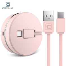 Jual Cafele Circular Cover Retractable Tipe C Pengisian Cepat Kabel Data 1 M Pink Intl Baru