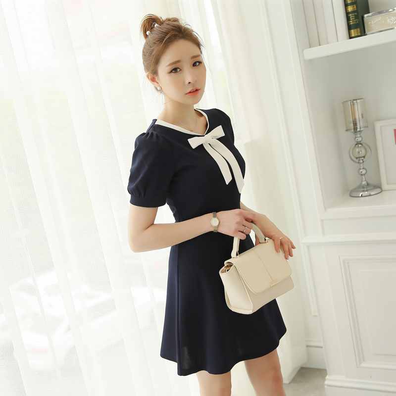 Caidaifei Korean Style Knitted Spring And Summer New Style Dress Biru Tua Oem Diskon 30