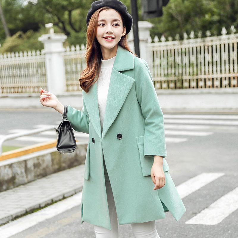 Harga Caidaifei Korea Fashion Style Slim Dan Bagian Panjang Wol Jaket Parka Wol Jas Hijau Muda Baju Wanita Jaket Wanita Oem Baru