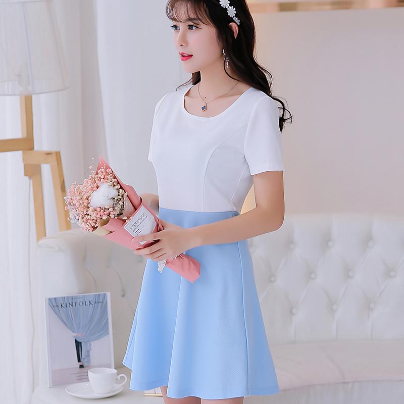 Beli Caidaifei Merajut Musim Semi Dan Musim Panas Baru Ukuran Besar Korea Fashion Style Lengan Pendek Gaun Cahaya Biru Cahaya Biru Baju Wanita Dress Wanita Gaun Wanita Baru