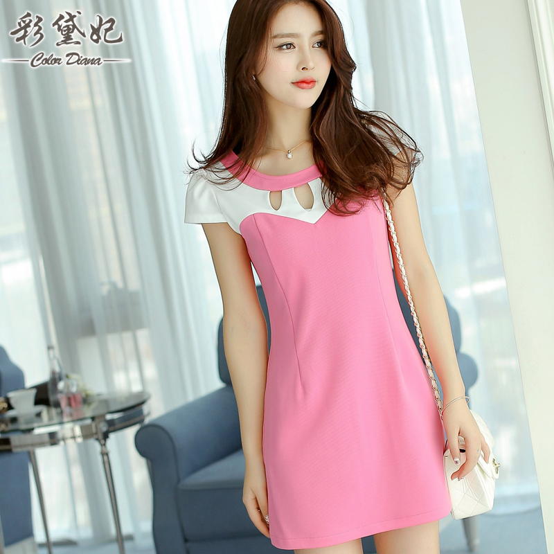 Toko Caidaifei Korean Style Spring And Summer New Style Slim Fit Elegant Short Sleeved Dress Dangkal Rose Termurah Di Tiongkok