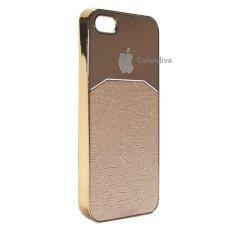 Calandiva Chrome Hardcase Half Metal Half Leather for Iphone 5 / 5s / 5SE ( Gold )