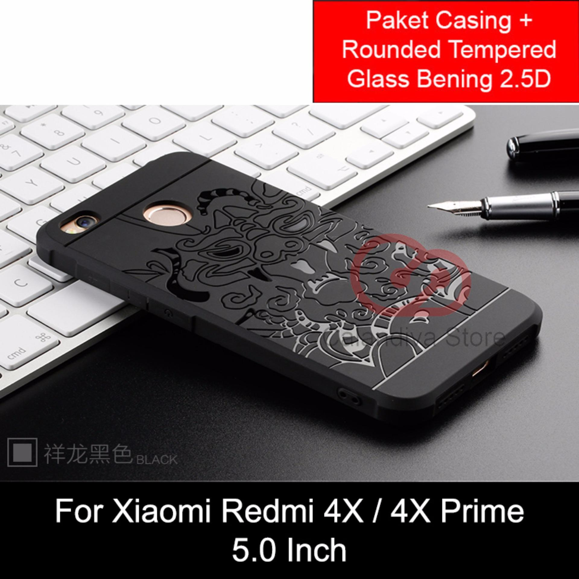 Calandiva Dragon Shockproof Hybrid Case for Xiaomi Redmi 4X / Redmi 4X Prime 5.0 inch - Hitam + Rounded Tempered Glass