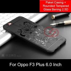 Calandiva Dragon Shockproof Hybrid Case untuk Oppo F3 Plus 6 Inch - Hitam + Rounded Tempered
