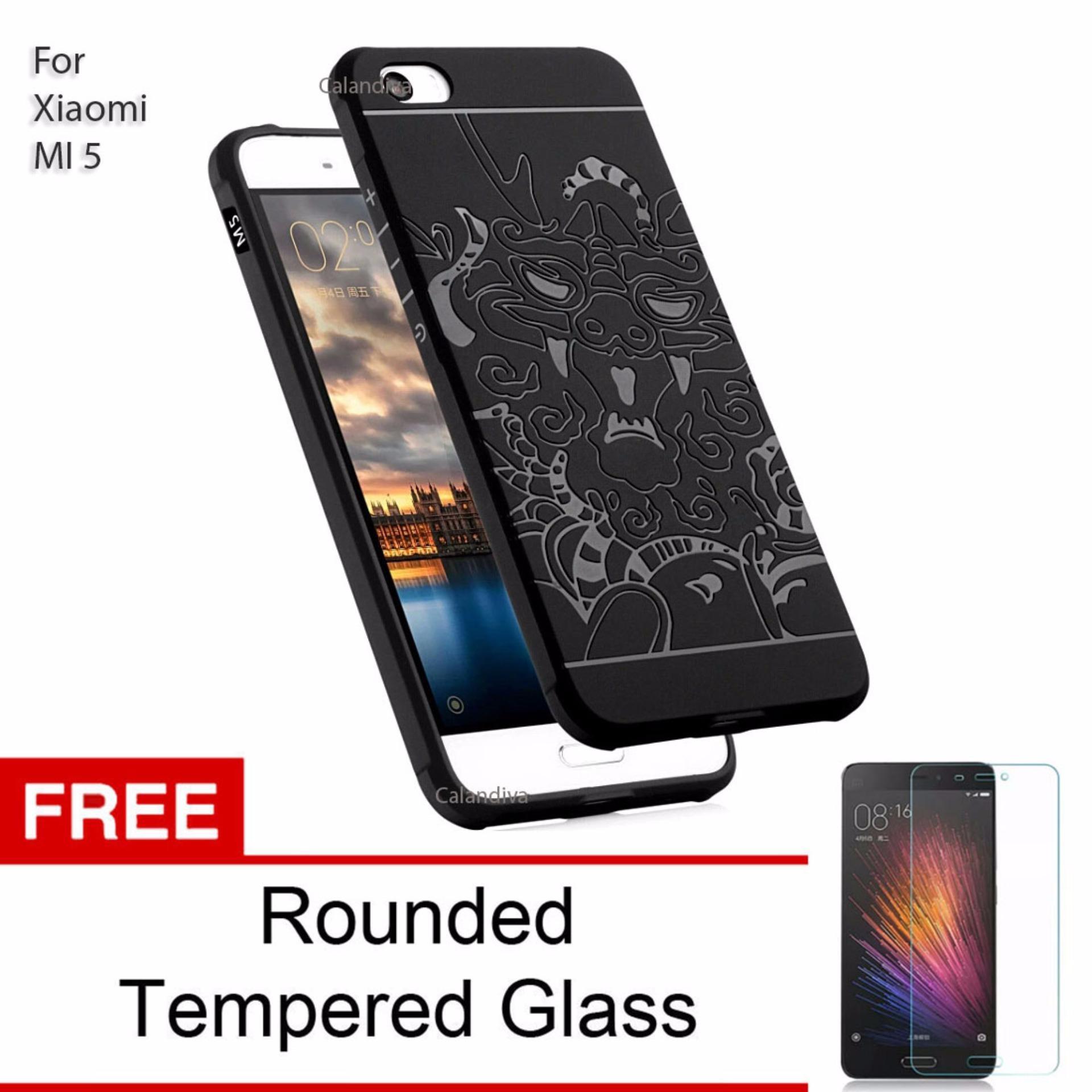 Penjualan Calandiva Dragon Shockproof Hybrid Case untuk Xiaomi Mi 5 / Mi 5 Pro - Hitam + Gratis Tempered Glass terbaik murah - Hanya Rp46.008