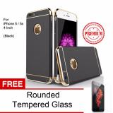 Situs Review Calandiva Premium Quality Elegance Protection Hardcase For Iphone 5 5S 5 Se Black Rounded Tempered Glass