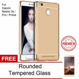 Jual Calandiva Premium Quality Elegance Protection Hardcase For Xiaomi Redmi 3 Pro 3S Gold Rounded Tempered Glass Import
