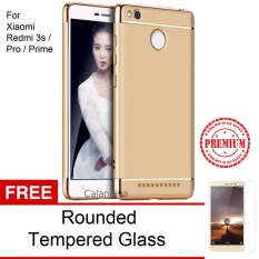 Review Toko Calandiva Premium Quality Elegance Protection Hardcase For Xiaomi Redmi 3 Pro 3S Gold Rounded Tempered Glass
