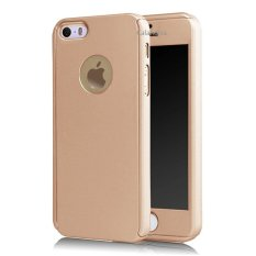 Calandiva Front Back Protection Case 360 Degree With Tempered Glass for Iphone 5 / 5s / 5SE 4.0 inch – Gold