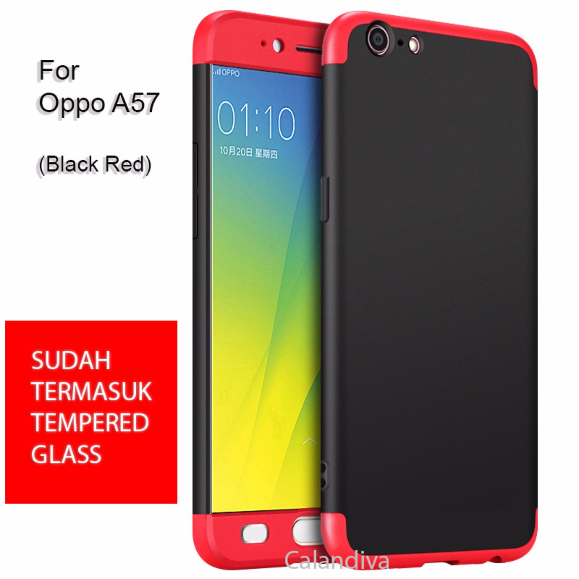 Dapatkan Segera Calandiva Premium Front Back 360 Degree Full Protection Case Quality Grade A For Oppo A57 Tempered Glass 2 5D Bening