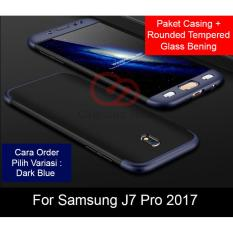 Calandiva Premium Front Back 360 Degree Full Protection Case Quality Grade A for Samsung Galaxy J7 PRO 2017 ( J730 ) + Tempered Glass 2.5D Bening