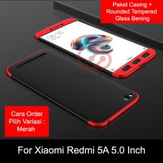 Calandiva Premium Front Back 360 Degree Full Protection Quality Grade A Case Quality Grade A for Xiaomi Redmi 5A 5.0 Inch + Tempered Glass 2.5D Bening