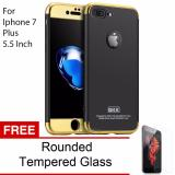 Review Terbaik Calandiva Premium Chrome Front Back 360 Degree Full Protection Case With Tempered Glass For Iphone 7 Plus 5 5 Inch Black