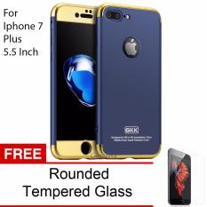 Harga Calandiva Premium Chrome Front Back 360 Degree Full Protection Case With Tempered Glass For Iphone 7 Plus 5 5 Inch Dark Blue New