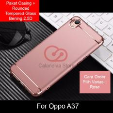 Calandiva Premium Quality Elegance Protection Hardcase for Oppo A37 + Rounded Tempered Glass