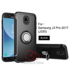 Calandiva Case Samsung Galaxy J3 PRO 2017 ( J330 ) Casing Ring Carbon Kickstand Hybrid Premium Quality Grade A