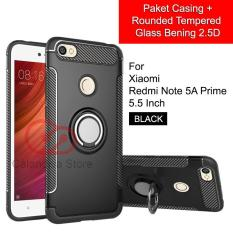 Calandiva Ring Carbon Kickstand Hybrid Premium Quality Grade A Case for Xiaomi Redmi Note 5A Prime, Redmi Y1 5.5 Inch ( Sama Ukuran ) + Rounded Tempered Glass 2.5D Bening