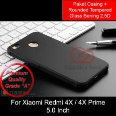 Calandiva Shockproof Hybrid Premium Grade A Softcase for Xiaomi Redmi 4X / Redmi 4X Prime 5.0 inch - Hitam + Rounded Tempered Glass