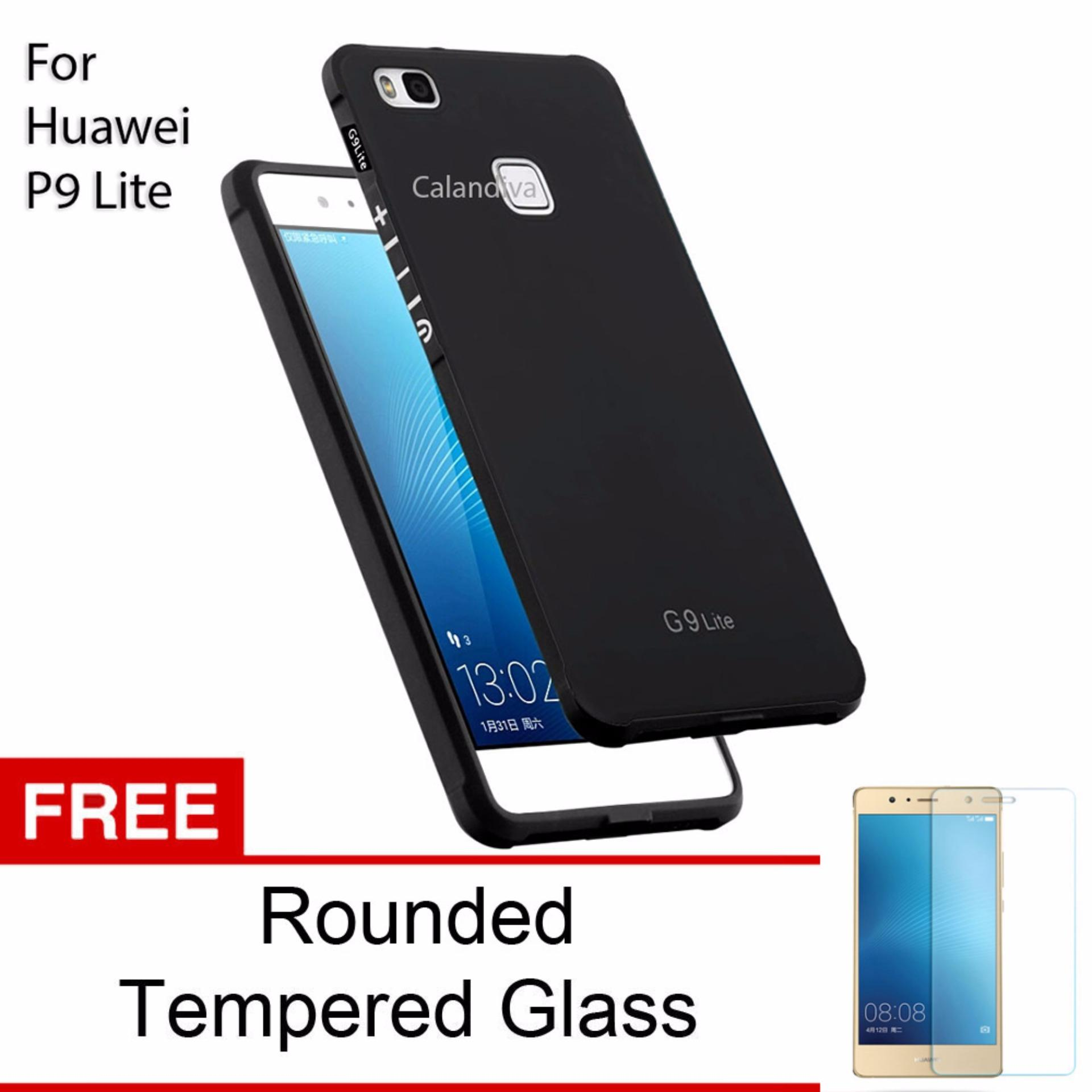 Calandiva Shockproof Hybrid Premium Quality Grade A Softcase for Huawei P9 Lite / G9 Lite - Hitam + Rounded Tempered Glass