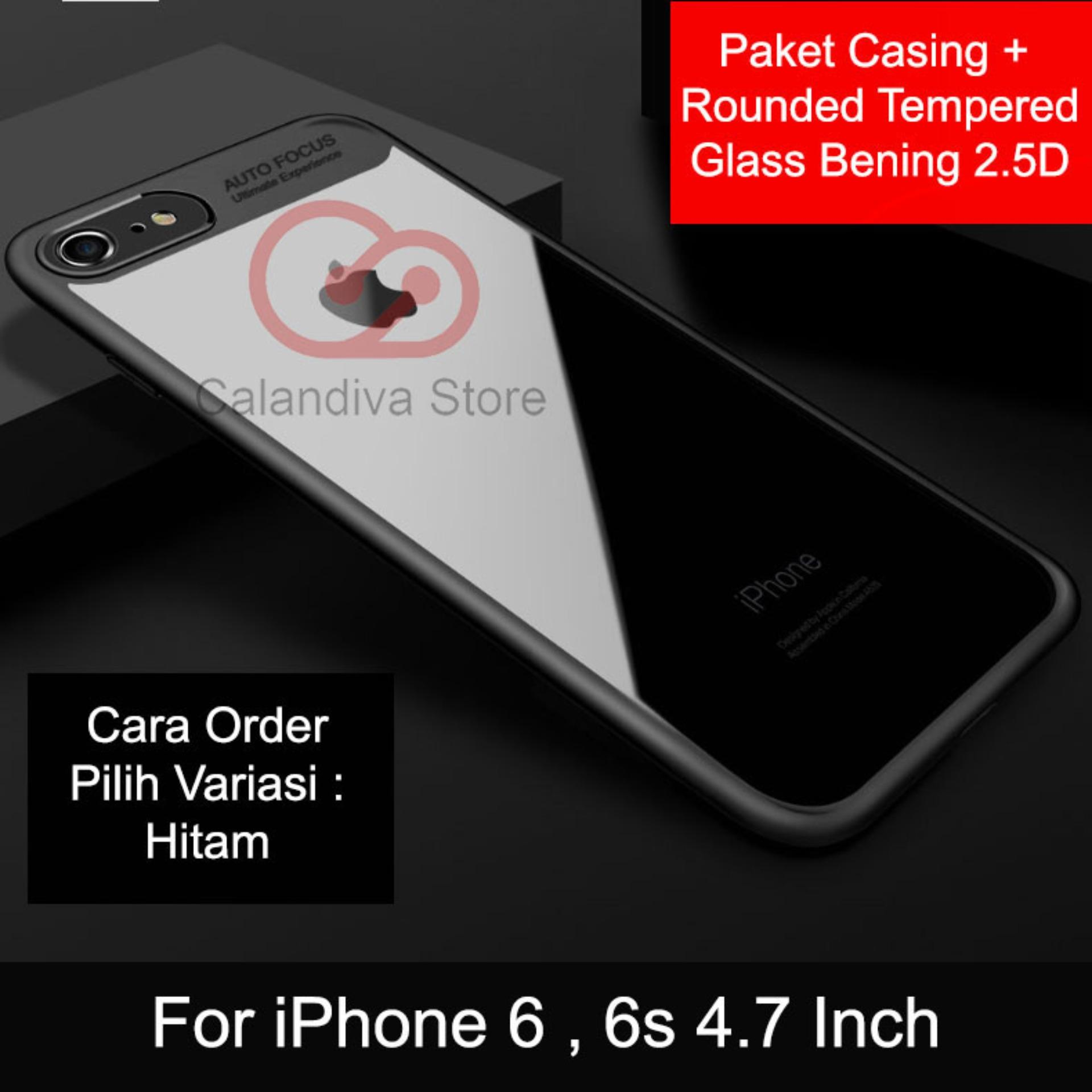 Promo Calandiva Transparent Shockproof Hybrid Premium Quality Grade A Case For Iphone 6 Iphone 6S 4 7 Inch Sama Ukuran Rounded Tempered Glass 2 5D Jawa Barat