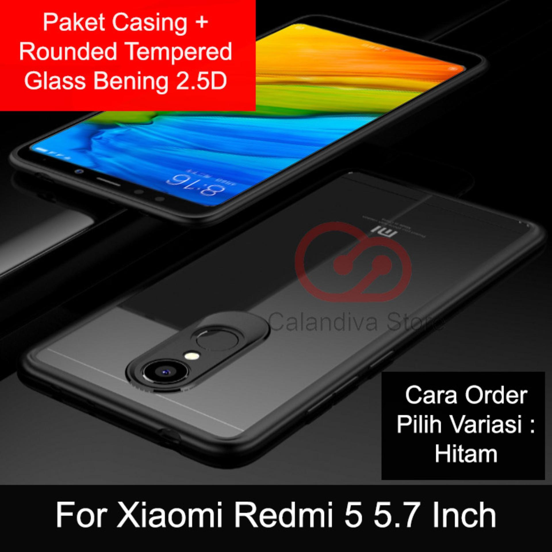 Harga Calandiva Transparent Shockproof Hybrid Premium Quality Grade A Case For Xiaomi Redmi 5 5 7 Inch Rounded Tempered Glass Bening 2 5D Online