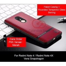 Harga Calandiva Gentleman Series Shockproof Hybrid Premium Quality Grade A Case For Xiaomi Redmi Note 4X Snapdragon Redmi Note 4 Snapdragon Rounded Tempered Glass Online