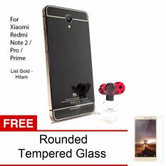 Calandiva Glossy Backcase Tempered for Xiaomi Redmi Note 2 / Pro / Prime List Gold - Hitam + Rounded Tempered Glass