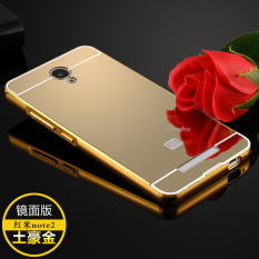 Calandiva Xiaomi Redmi Note 2 Mirror Backcase with Metal Bumper - Gold