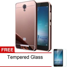 Jual Cepat Calandiva Xiaomi Redmi Note 2 Mirror Backcase With Metal Bumper Rose Gold Gratis Tempered Glass