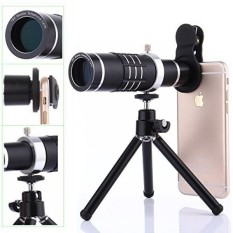 Kit Lensa Kamera, WMTGUBU 4 In 1 HD Universal Clip-On Phone 18X Zoom Optik Lensa Telephoto + 18X Super Macro Lens + 0.6X Wide Angle Lens Tripod untuk IPhone Samsung Huawei Ipad Tablet PC Laptop (Hitam) -Intl