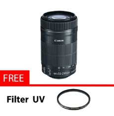 Canon EF-S 55-250mm F4-5.6 IS STM Lensa for Canon SLR Camera + Gratis filter uv 58mm - Hitam