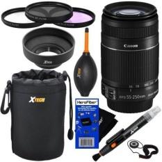 Canon EF-S 55-250mm F/4.0-5.6 IS II Lensa Zoom Telephoto-Versi Internasional (tidak Ada Garansi) untuk Canon EOS 7D, 60D, EOS Rebel SL1, T1i, T2i, T3, T3i, T4i, T5i, XS, XSI, XT, & XTi Digital SLR Kamera + 10 PC Bundle Deluxe Aksesori Kit-Intl