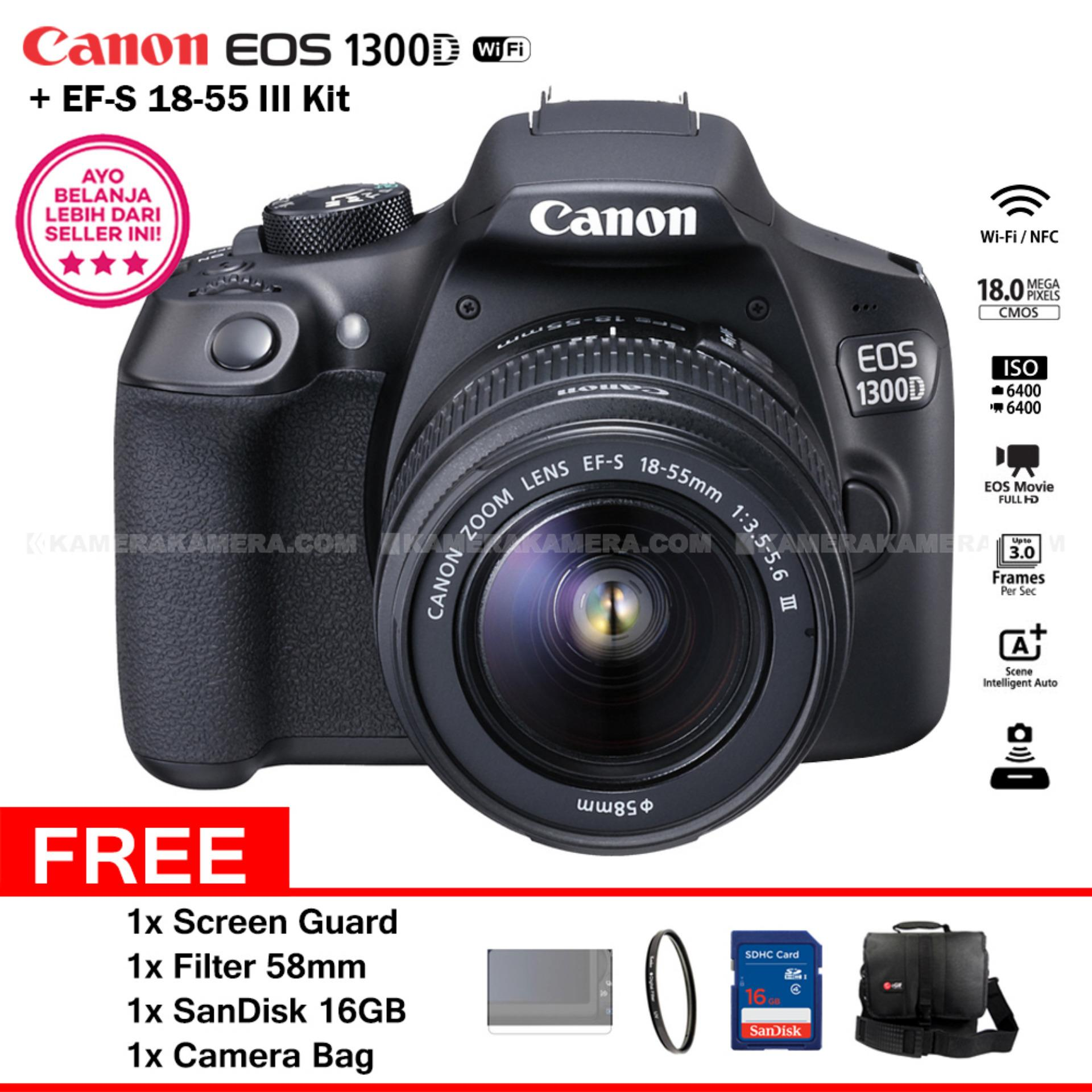 Canon EOS 1300D (Wi-Fi) 18-55mm III + Screen Guard + Filter 58mm + SanDisk 16Gb + Camera Bag