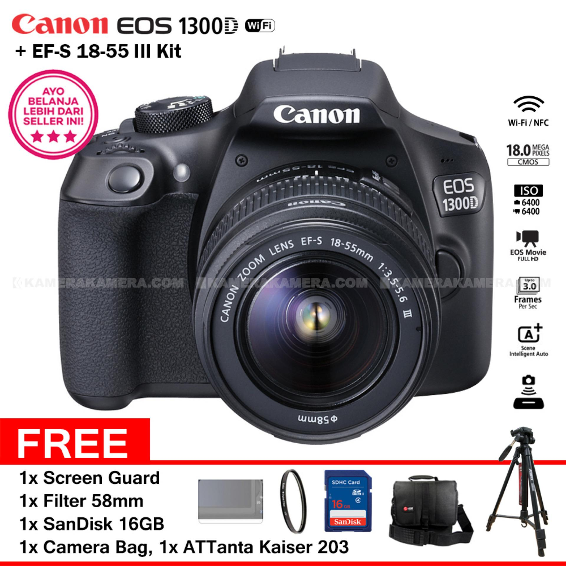 Canon EOS 1300D (Wi-Fi) EF-S 18-55mm III + Screen Guard + Filter 58mm + SanDisk 16Gb + Camera Bag + ATTanta KAISER 203