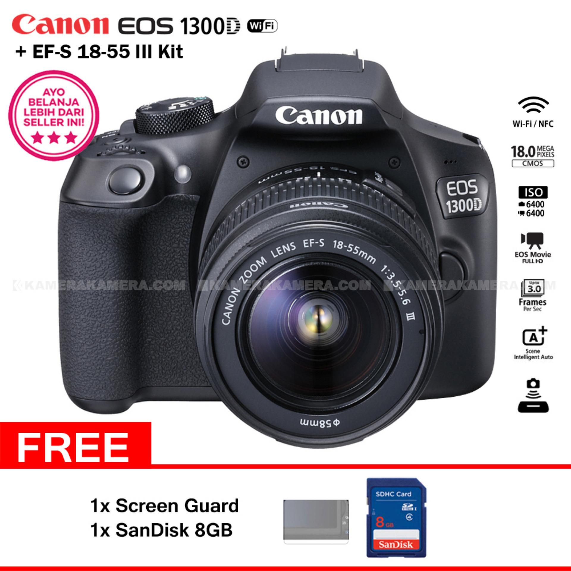 Canon EOS 1300D (Wi-Fi) EF-S 18-55mm III + Screen Guard + SanDisk 8GB