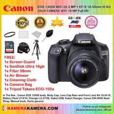 CANON EOS 1300D EF-S 18-55mm III WiFi 18MP Garansi 1th + Screen Guard + SanDisk Ultra 16gb + Filter 58mm + Blower + Cloth + Camera Bag + Tripod Takara ECO-193a